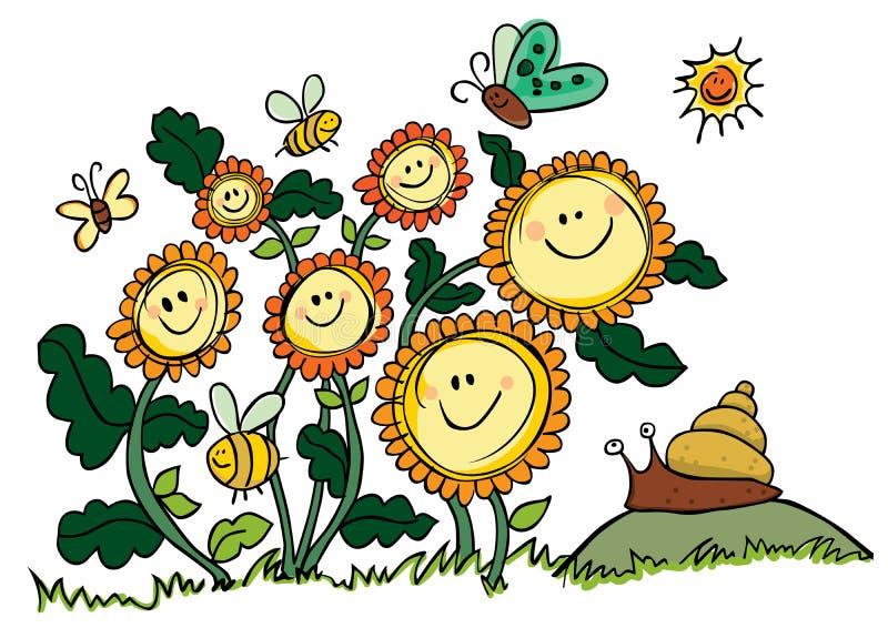 Szczęśliwi Wektorowi słoneczniki, pszczoły i ślimaczek, ilustracji