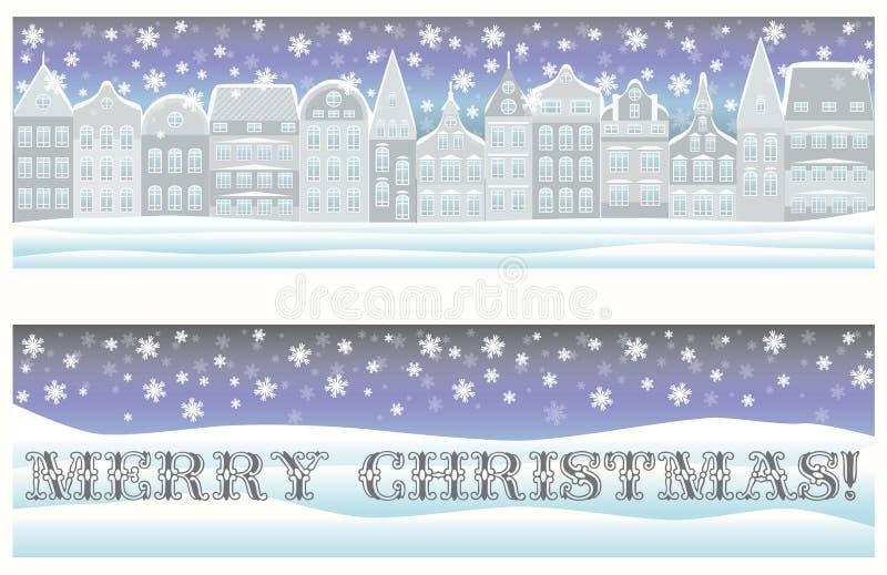 Szczęśliwi Wesoło bożych narodzeń sztandary z zimy miastem royalty ilustracja