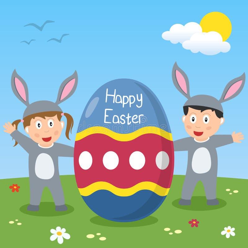 Szczęśliwi Wielkanocnego królika dzieciaki ilustracji