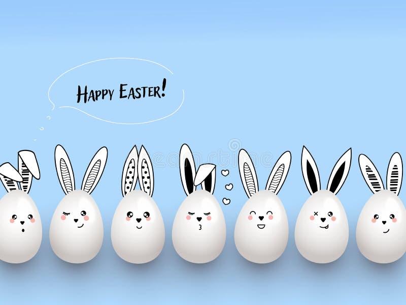 Szczęśliwi Wielkanocni śmieszni śliczni króliki z chmurami i Easter jajkami na bławym tle royalty ilustracja