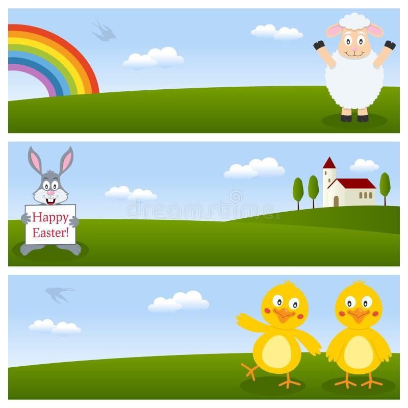 Szczęśliwi Wielkanocni Horyzontalni sztandary ilustracji