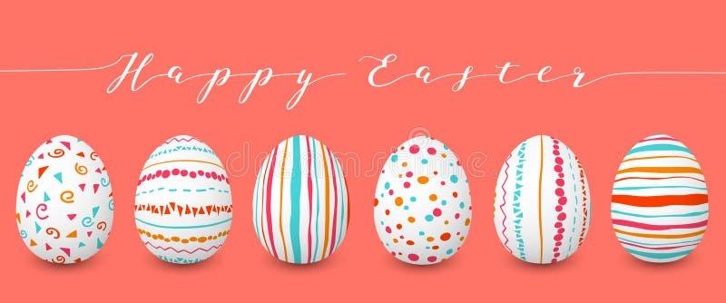 Szczęśliwi Wielkanocni jajka ustawiają z rzędu copyspace Kolorowi Easter jajka na koralowym tle Ręki chrzcielnica abstraktów ozdó royalty ilustracja