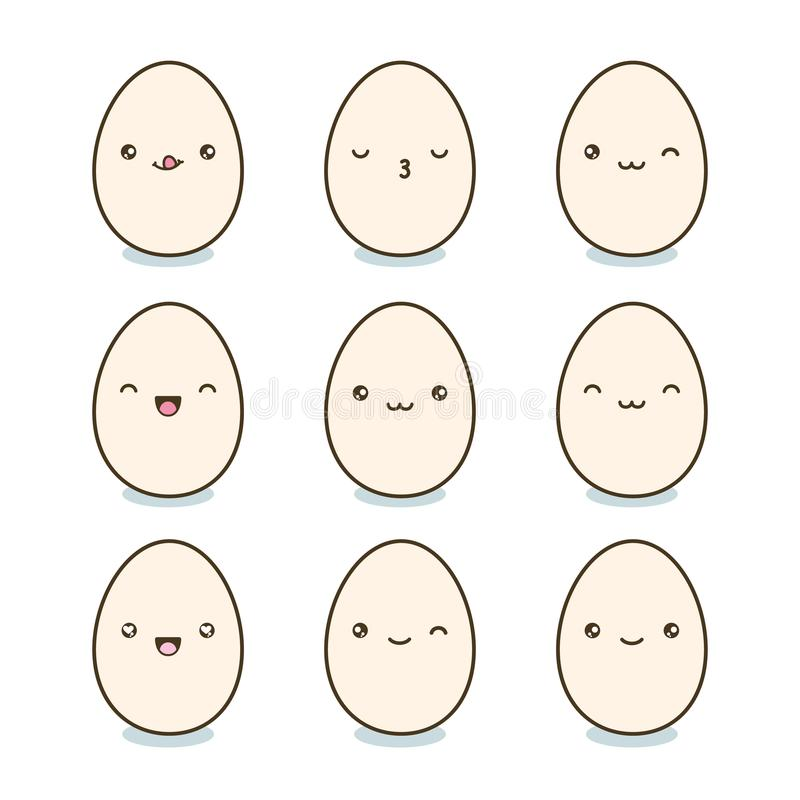 Szczęśliwi Wielkanocni jajka ustawiający Kawaii jajka z ślicznymi twarzami na białym tle również zwrócić corel ilustracji wektora ilustracji
