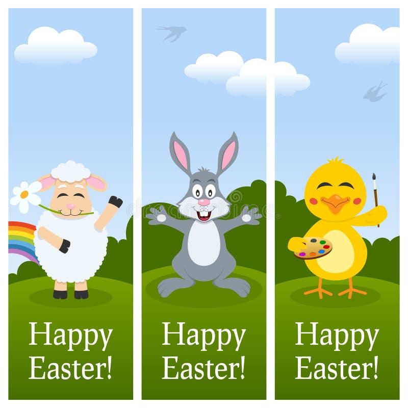 Szczęśliwi Wielkanocni Pionowo sztandary ilustracja wektor