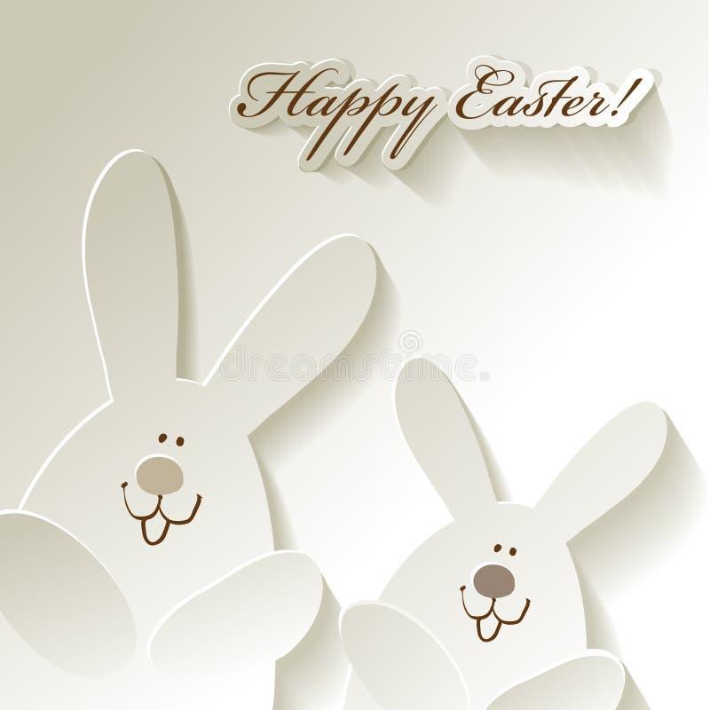 Szczęśliwi Wielkanocni pocztówki 2 króliki na białym tle royalty ilustracja