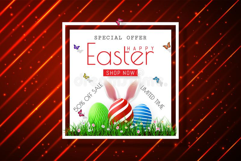 Szczęśliwi Wielkanocni sprzedaż sztandary z realistycznymi Wielkanocnymi rabbir ` s ucho, wektor