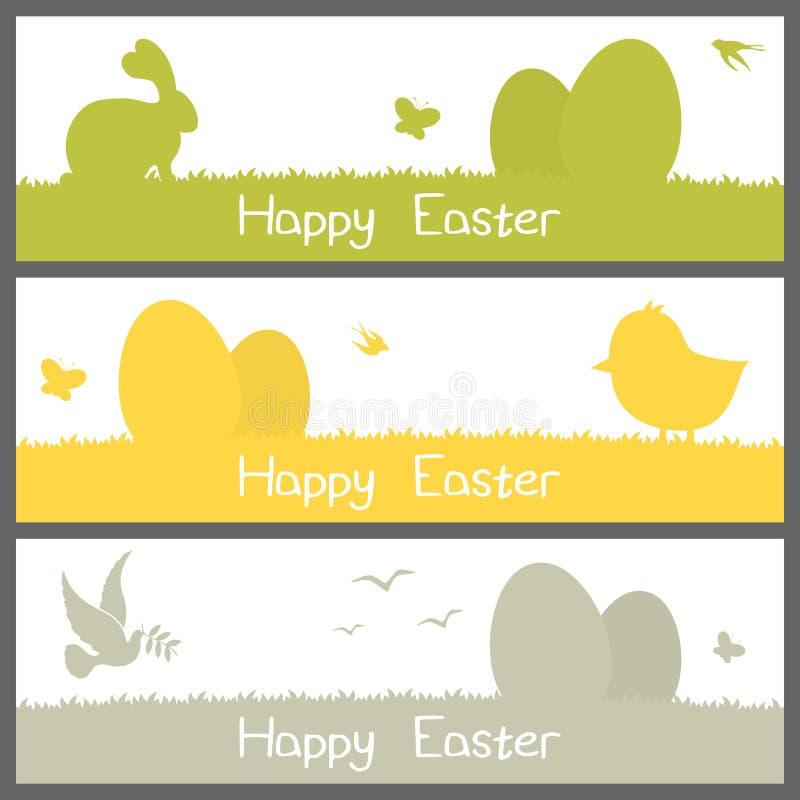 Szczęśliwi Wielkanocni sylwetka sztandary Ustawiający ilustracji