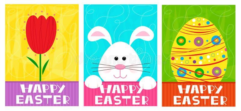 Szczęśliwi Wielkanocni sztandary ilustracja wektor