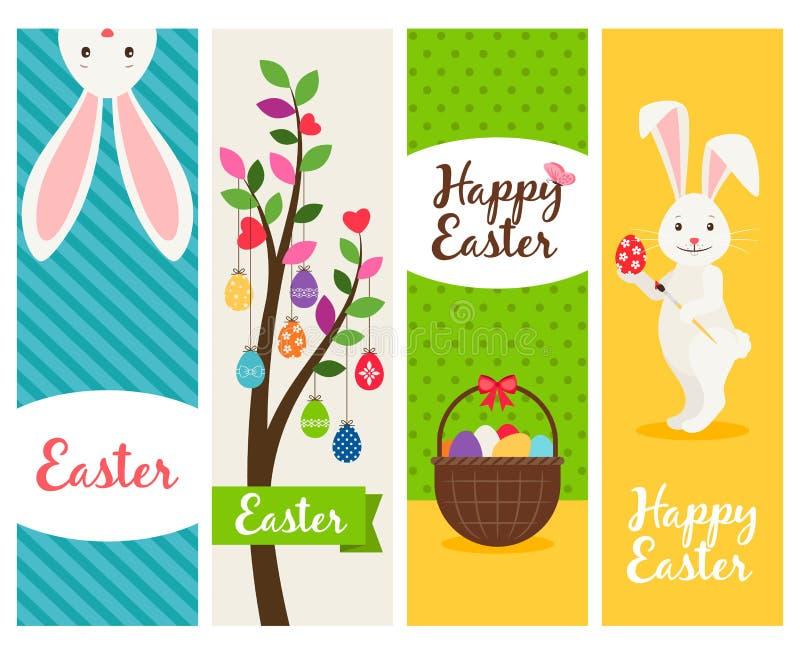 Szczęśliwi Wielkanocni sztandary ilustracji