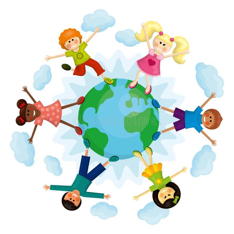 Szczęśliwi wielo- etniczni dzieciaki wokoło ziemi royalty ilustracja