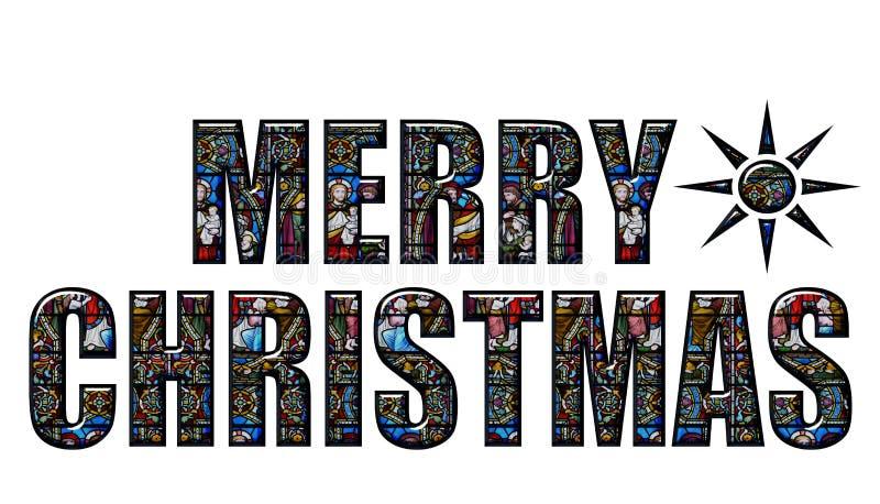 Szczęśliwi witraży Boże Narodzenia ilustracji