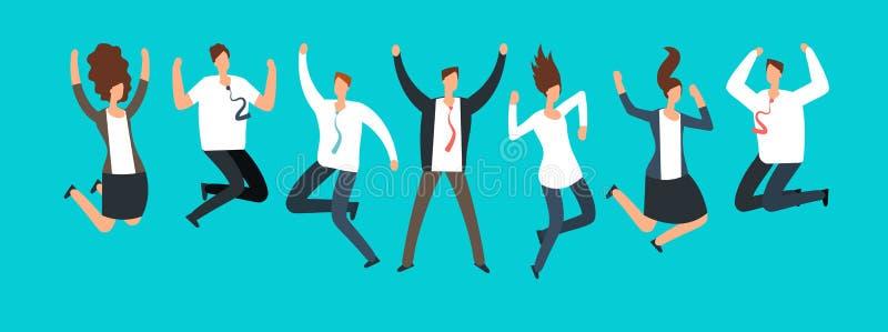 Szczęśliwi z podnieceniem ludzie biznesu, pracownicy skacze wpólnie Pomyślny drużynowy pracy i przywódctwo kreskówki wektorowy po