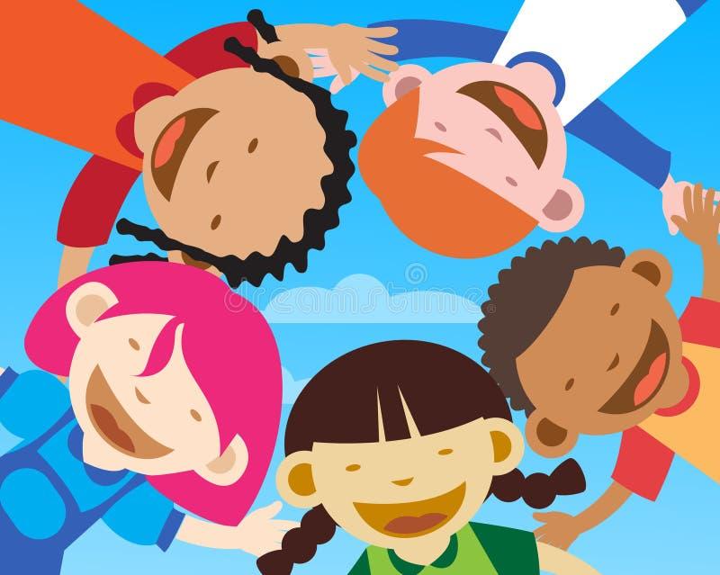 szczęśliwi zbliżenie dzieciaki royalty ilustracja