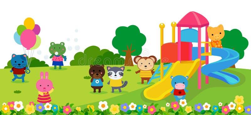 Szczęśliwi zwierzęta bawić się w parku royalty ilustracja