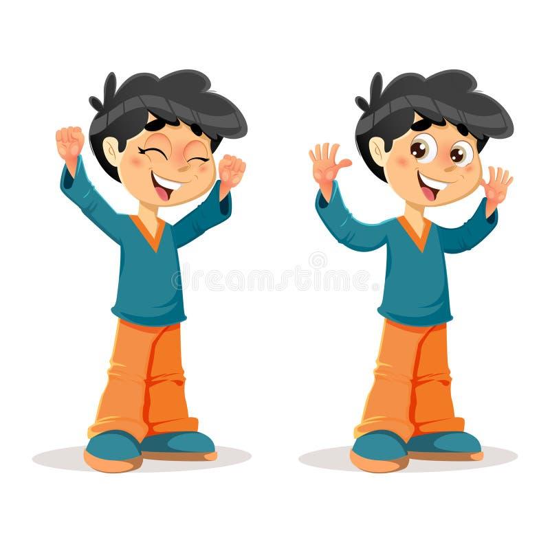 Szczęśliwi Zwycięscy Młodzi chłopiec wyrażenia ilustracji