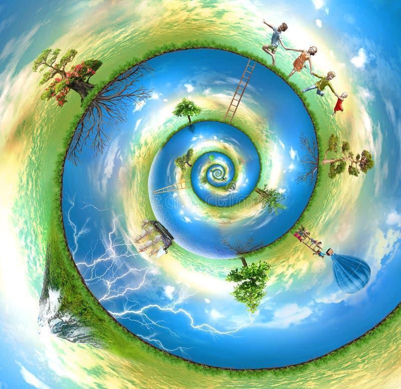szczęśliwy łodzika świat ilustracja wektor