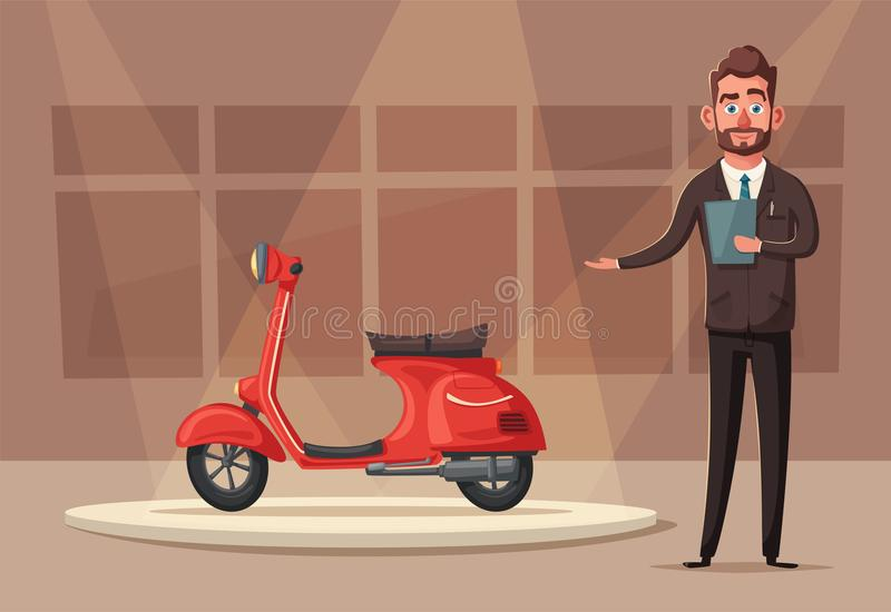 Szczęśliwy śliczny colsuntant lub sprzedawca chłopiec kreskówka zawodzący ilustracyjny mały wektor ilustracji