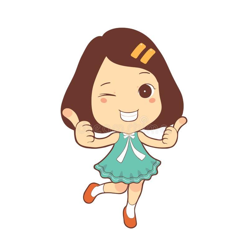 Szczęśliwy śliczny dziecko dziewczyny kciuk up z dwa ręk postać z kreskówki zdjęcie stock