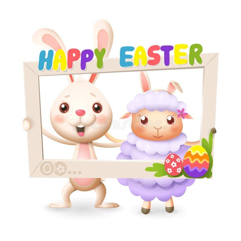 Szczęśliwy śliczny królik i baranek świętujemy wielkanoc z ogólnospołeczną sieci fotografii ramą - odizolowywającą na białym tle royalty ilustracja