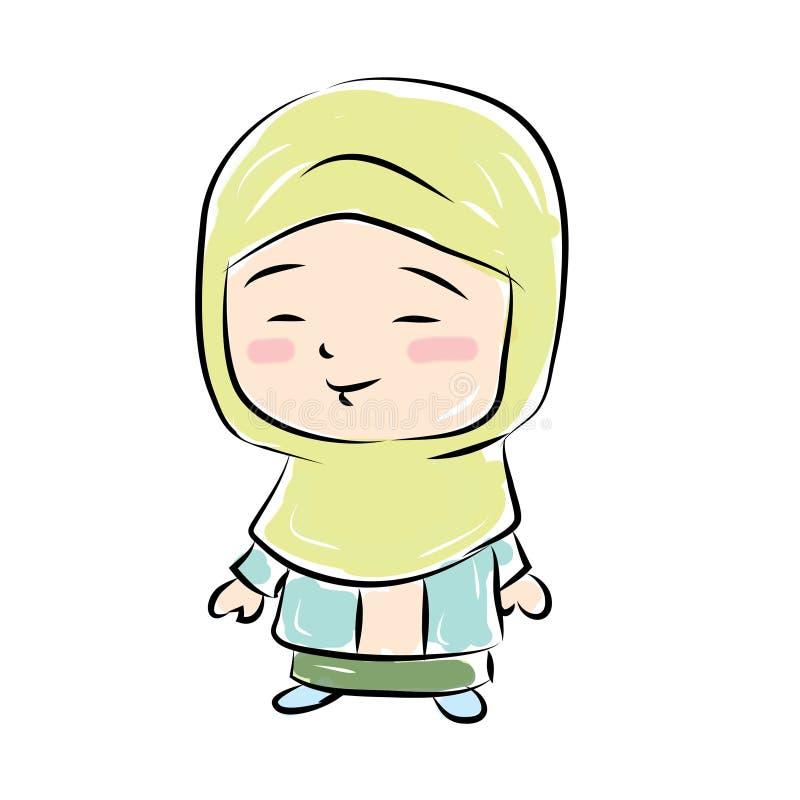 Szczęśliwy śliczny moeslim dzieciak royalty ilustracja