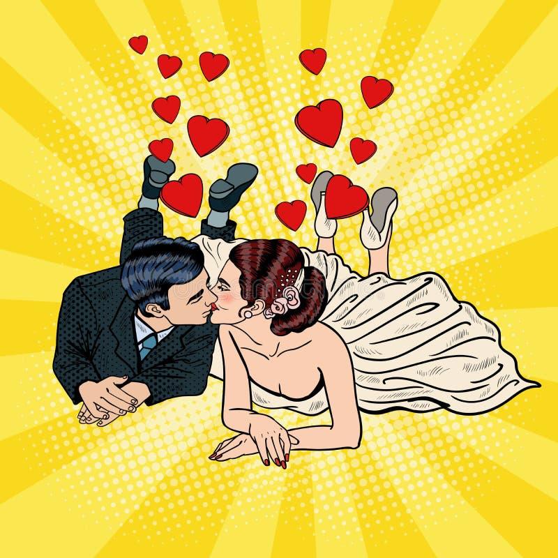 Szczęśliwy ślub pary całowanie Wystrzał sztuki państwo młodzi ilustracja wektor
