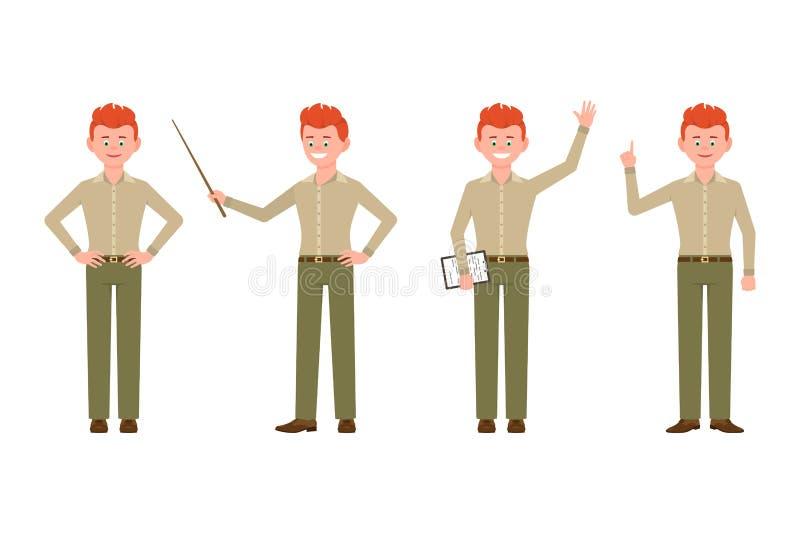 Szczęśliwy, śmieszny, czerwony włosiany młody urzędnika facet w przypadkowej biurowej spojrzenie wektoru ilustracji, ilustracji