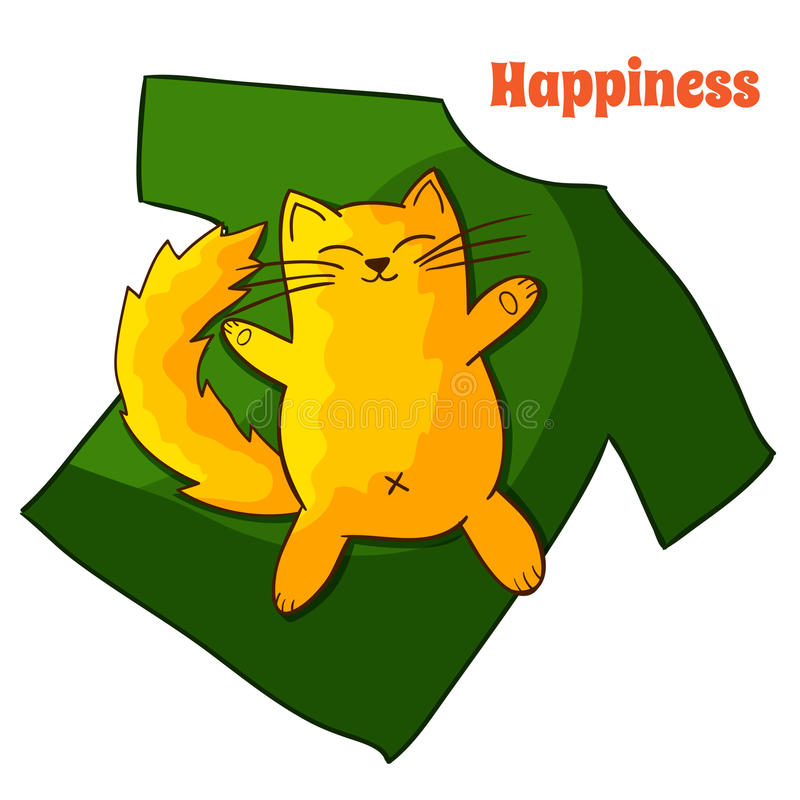 Szczęśliwy śmieszny Gnuśny kreskówka kot ilustracji