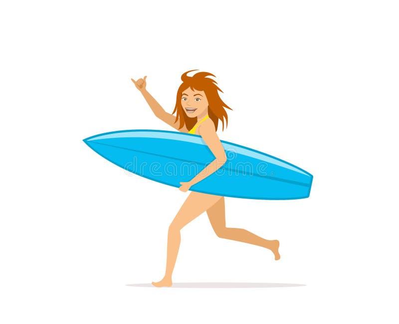 Szczęśliwy śmieszny kobieta surfingowa bieg z surfboard ilustracja wektor