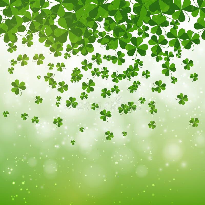 Szczęśliwy świętego Patrick dnia tła projekt, pocztówka, szablon, zaproszenie, zielony shamrock opuszcza, wektor royalty ilustracja