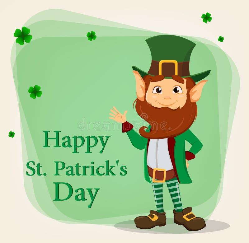 Szczęśliwy świętego Patrick ` s dzień Charakter z zielonym kapeluszem Kreskówki leprechaun falowania śmieszna ręka ilustracja wektor