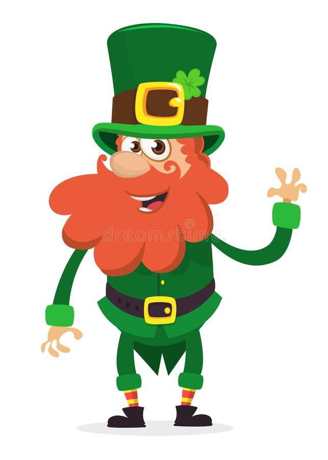Szczęśliwy świętego Patrick ` s dzień Uśmiechnięty postać z kreskówki leprechaun z zieloną kapeluszową falowanie ręką również zwr royalty ilustracja