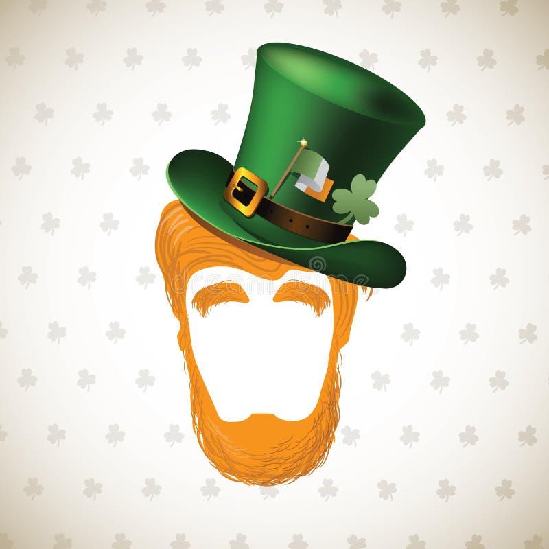 Szczęśliwy świętego Patricks dnia Leprechaun kapelusz i broda ilustracja wektor