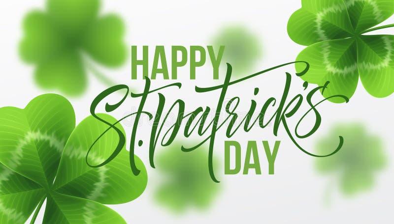 Szczęśliwy świętego Patricks dnia powitania literowanie na koniczyna liścia tle również zwrócić corel ilustracji wektora royalty ilustracja