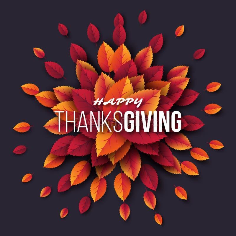 Szczęśliwy święto dziękczynienia projekt z jaskrawymi jesień liśćmi powitanie tekstem i Ciemny tło, Wektorowa ilustracja ilustracji