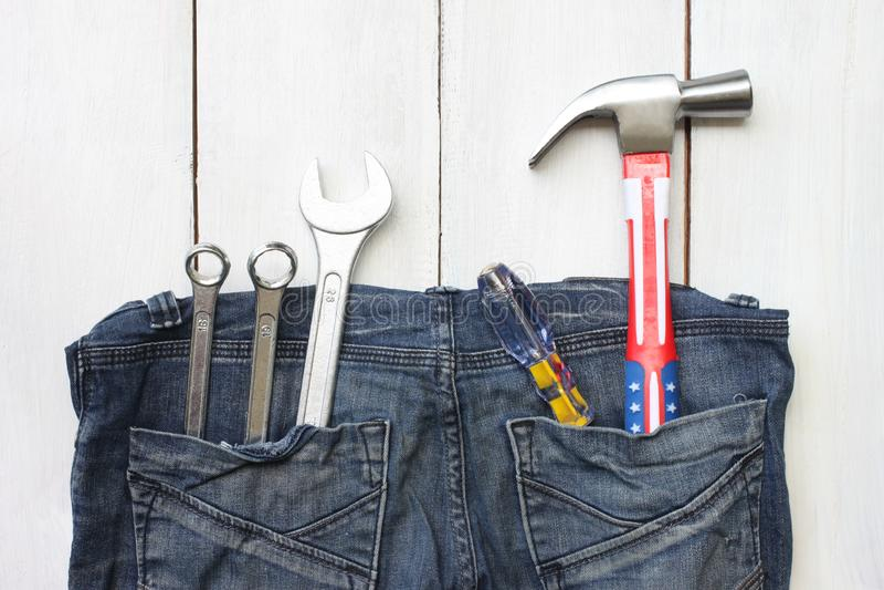 Szczęśliwy święto pracy jednoczący stanu pojęcia narzędzia technik umieszczający dalej zdjęcia stock