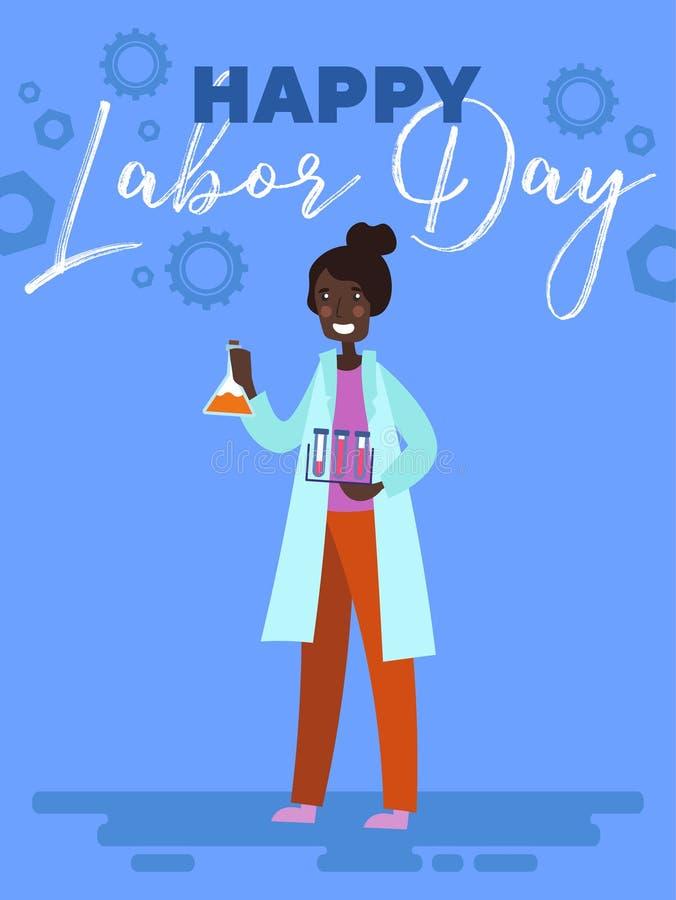 Szczęśliwy święto pracy kartki z pozdrowieniami lub plakata projekt z Żeńską naukowa chemika pozycją z próbnymi tubkami pod tekst royalty ilustracja
