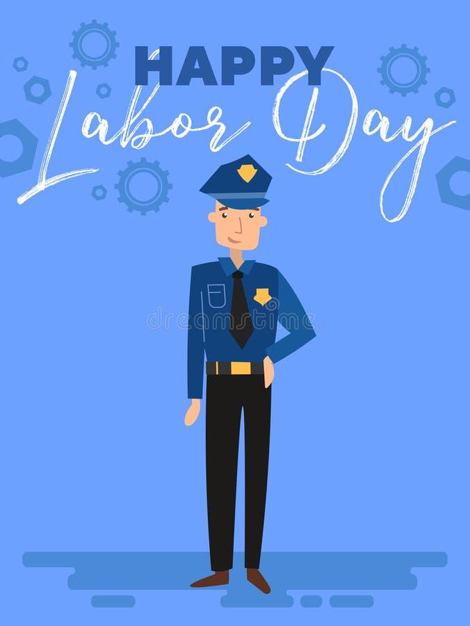 Szczęśliwy święto pracy kartki z pozdrowieniami lub plakata projekt z policjant pozycją pod tekstem nad błękitnym tłem, kolorowym ilustracji