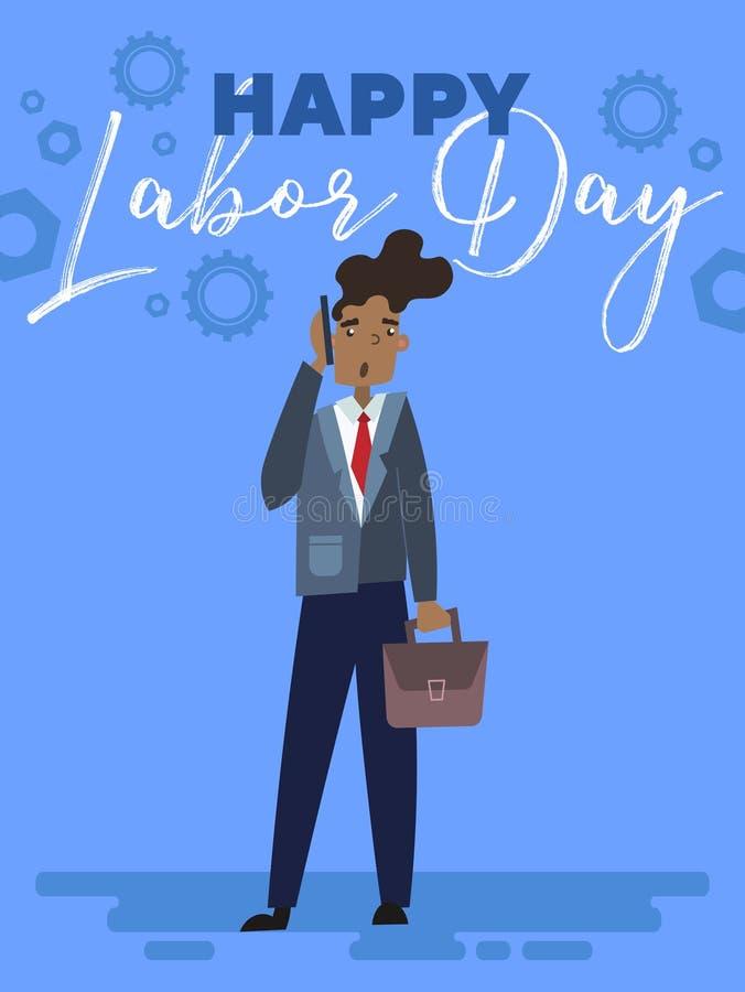 Szczęśliwy święto pracy kartki z pozdrowieniami, plakata projekt z afroamerykańskim biznesmenem lub royalty ilustracja