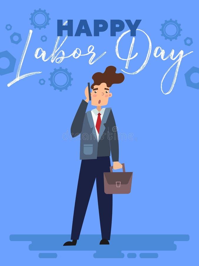 Szczęśliwy święto pracy kartki z pozdrowieniami, plakata projekt z biznesmenem lub ilustracja wektor