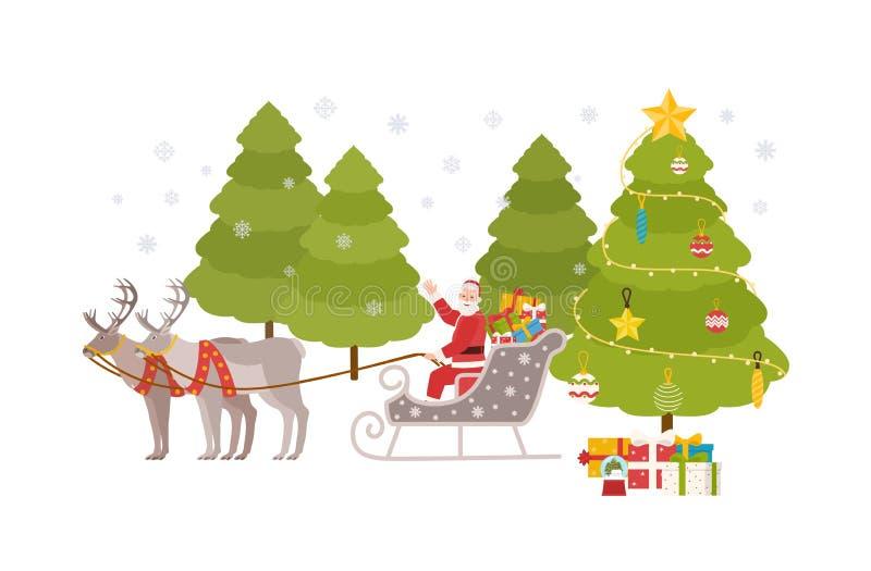 Szczęśliwy Święty Mikołaj siedzi w saniu niosącym reniferami i jedzie przez śnieżnego lasu przy wigilią dostarczać prezenty royalty ilustracja