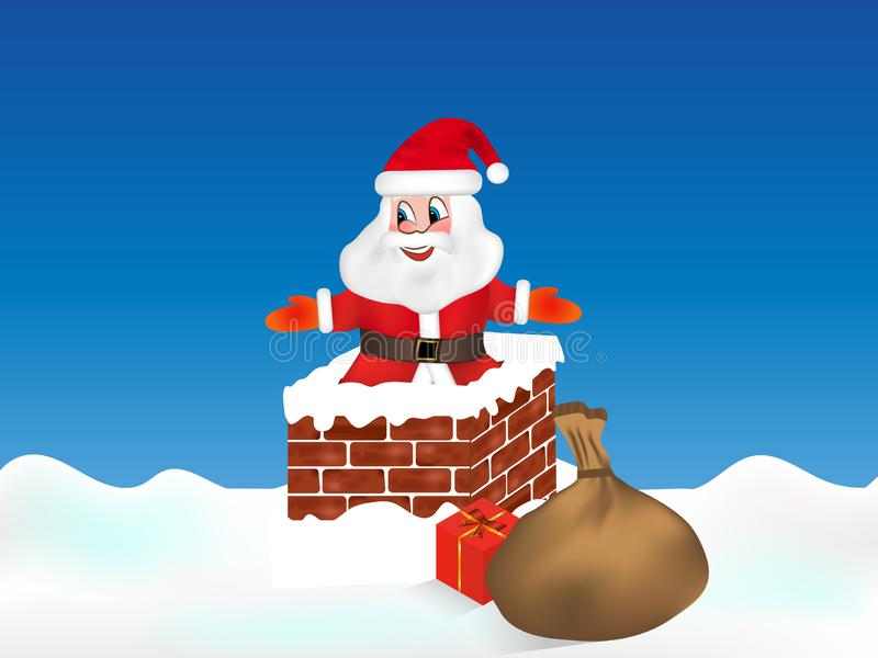 Szczęśliwy Święty Mikołaj w kominie Boże Narodzenie wektor royalty ilustracja