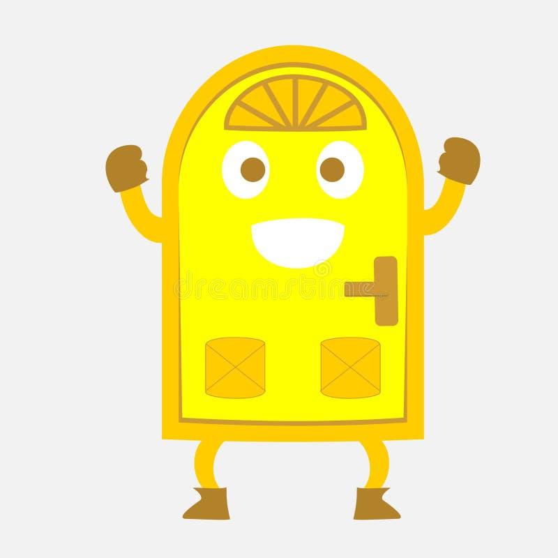 Szczęśliwy żółty Drzwiowy kreskówki ilustraci wektor fotografia royalty free