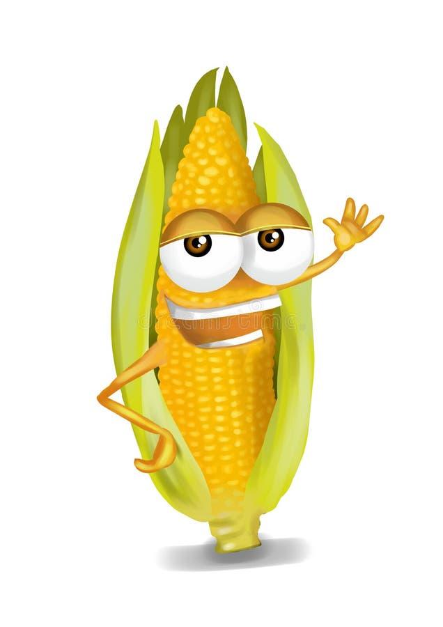 Szczęśliwy żółty kukurydzany postać z kreskówki śmia się joyfully ilustracji