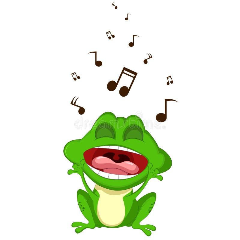 Szczęśliwy żaby kreskówki śpiew royalty ilustracja