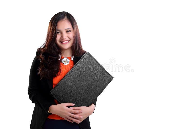 Szczęśliwy żeński sekretarki ono uśmiecha się odizolowywam zdjęcia royalty free