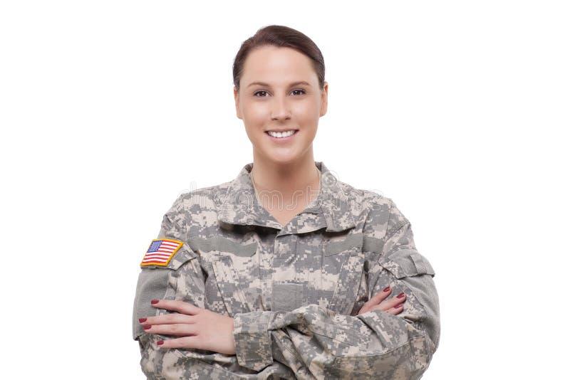 Szczęśliwy żeński wojsko żołnierz obrazy royalty free