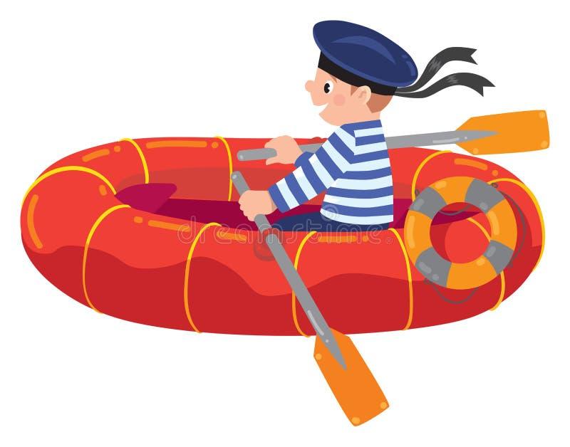 Szczęśliwy żeglarz w łodzi ilustracji