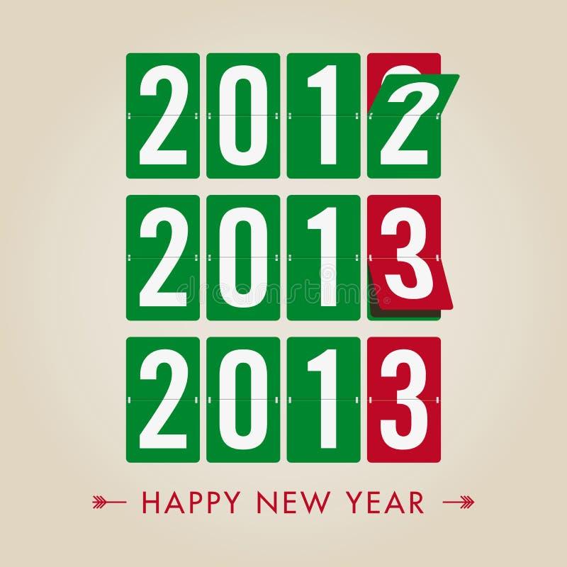 Szczęśliwy 2013 nowego roku machinalny rozkład zajęć obliczenia sty ilustracja wektor