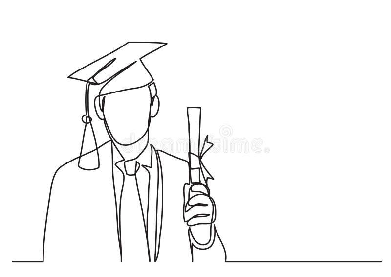 Szczęśliwy absolwent z dyplomem - ciągły kreskowy rysunek ilustracja wektor