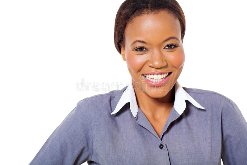 Szczęśliwy afrykański bizneswoman obrazy stock
